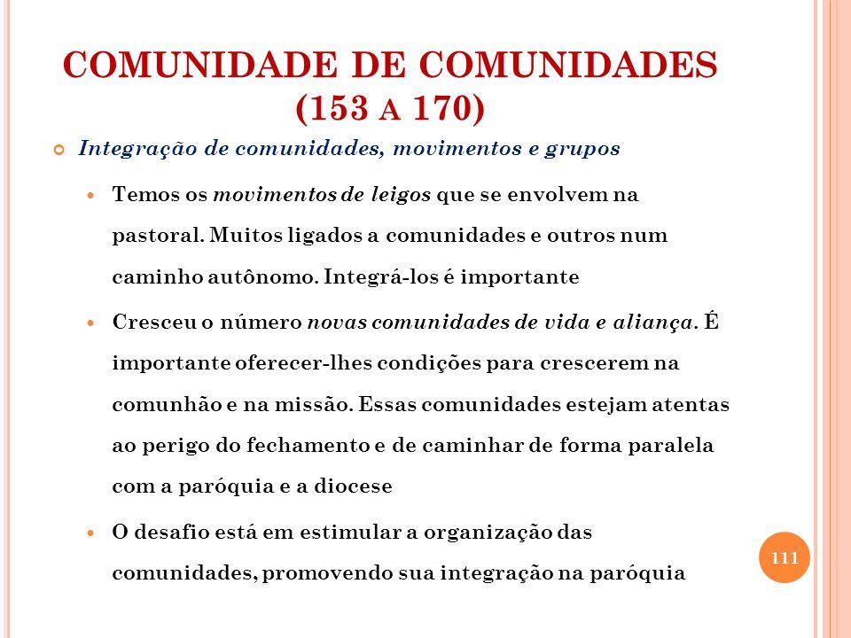 COMUNIDADE DE COMUNIDADES (153 A 170) Integração de comunidades, movimentos e grupos Temos os movimentos de leigos que se envolvem na pastoral. Muitos