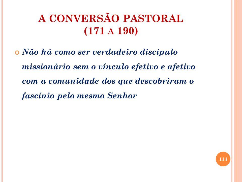 A CONVERSÃO PASTORAL (171 A 190) Não há como ser verdadeiro discípulo missionário sem o vínculo efetivo e afetivo com a comunidade dos que descobriram