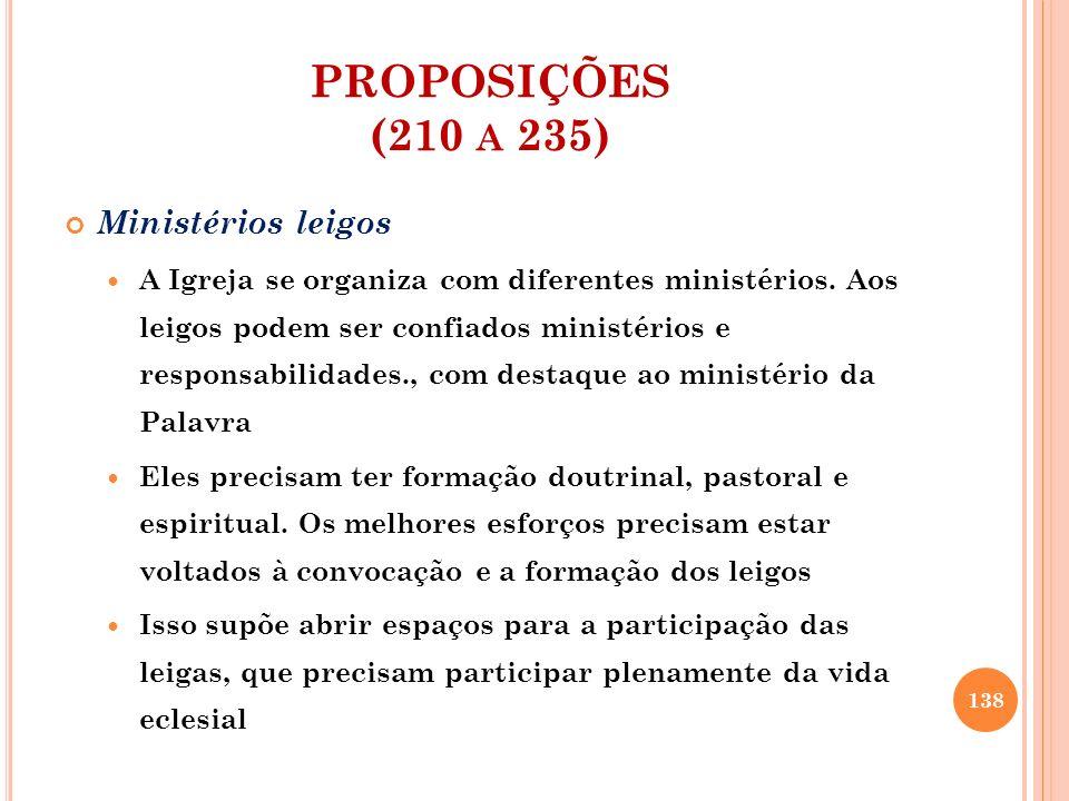 PROPOSIÇÕES (210 A 235) Ministérios leigos A Igreja se organiza com diferentes ministérios. Aos leigos podem ser confiados ministérios e responsabilid