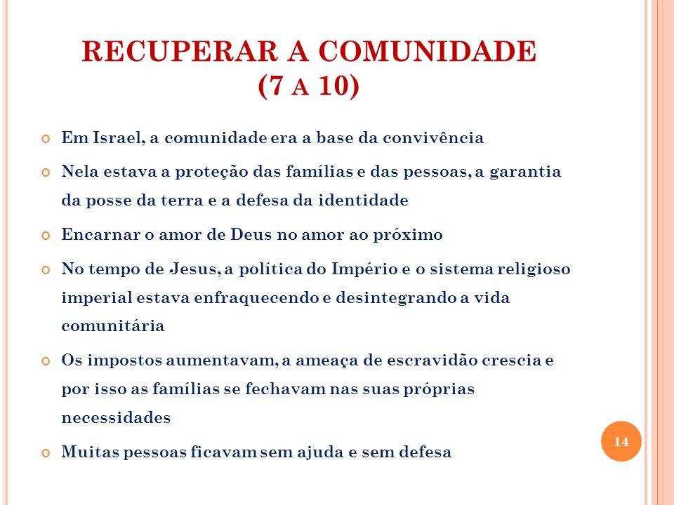 RECUPERAR A COMUNIDADE (7 A 10) Em Israel, a comunidade era a base da convivência Nela estava a proteção das famílias e das pessoas, a garantia da pos