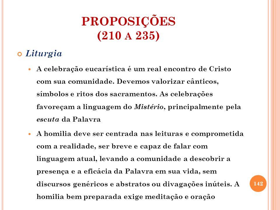 PROPOSIÇÕES (210 A 235) Liturgia A celebração eucarística é um real encontro de Cristo com sua comunidade. Devemos valorizar cânticos, símbolos e rito