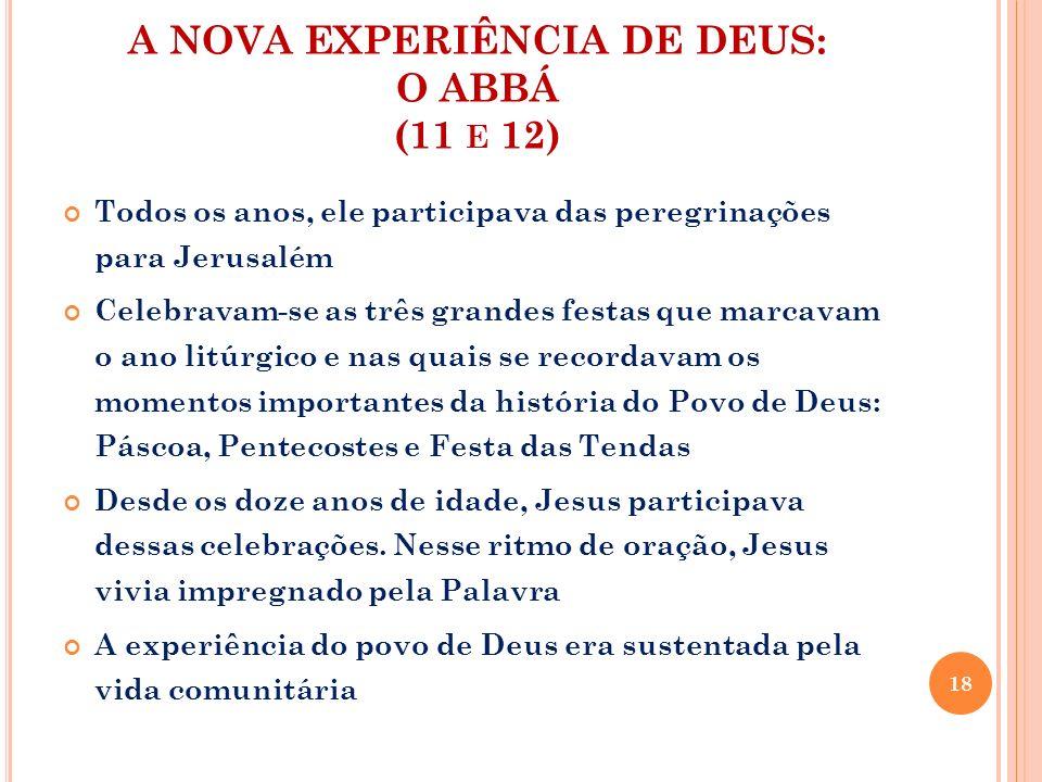 A NOVA EXPERIÊNCIA DE DEUS: O ABBÁ (11 E 12) Todos os anos, ele participava das peregrinações para Jerusalém Celebravam-se as três grandes festas que