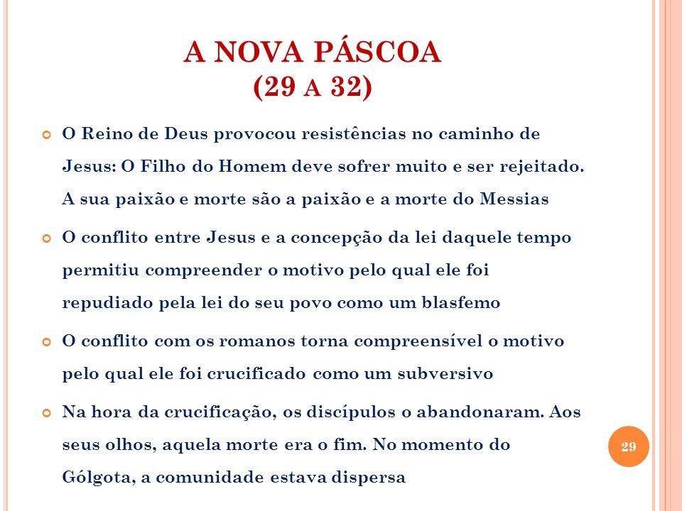 A NOVA PÁSCOA (29 A 32) O Reino de Deus provocou resistências no caminho de Jesus: O Filho do Homem deve sofrer muito e ser rejeitado. A sua paixão e