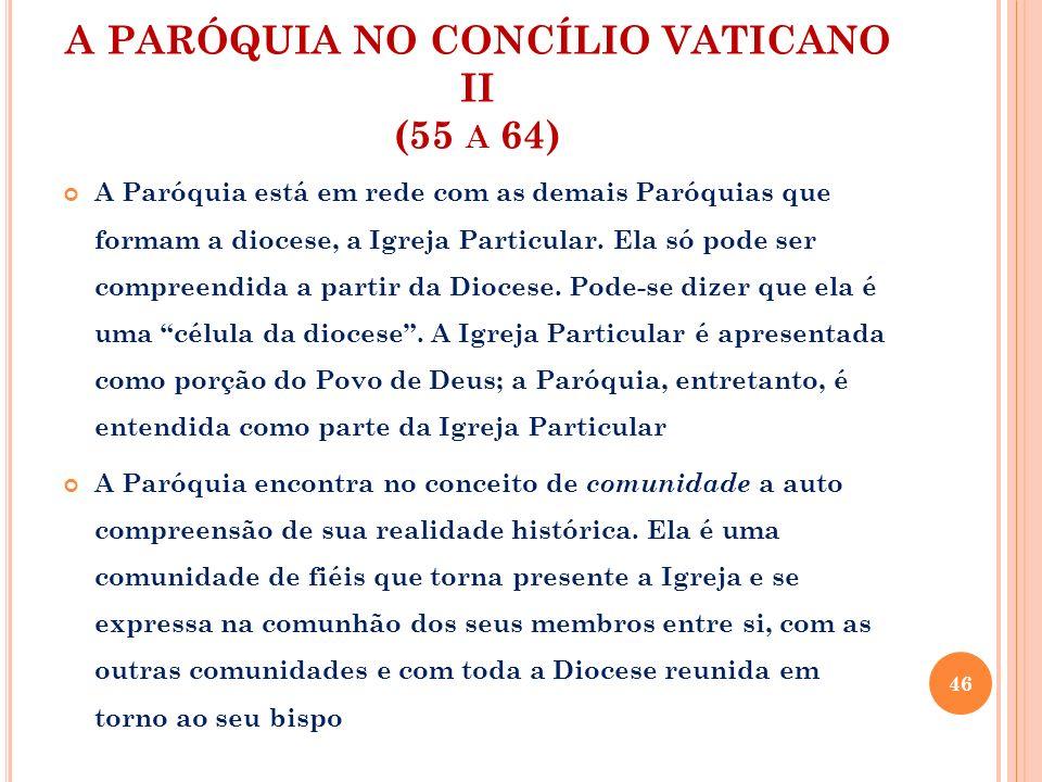 A PARÓQUIA NO CONCÍLIO VATICANO II (55 A 64) A Paróquia está em rede com as demais Paróquias que formam a diocese, a Igreja Particular. Ela só pode se