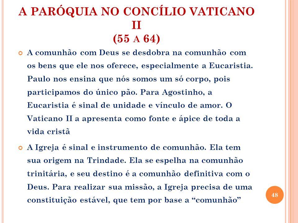 A PARÓQUIA NO CONCÍLIO VATICANO II (55 A 64) A comunhão com Deus se desdobra na comunhão com os bens que ele nos oferece, especialmente a Eucaristia.