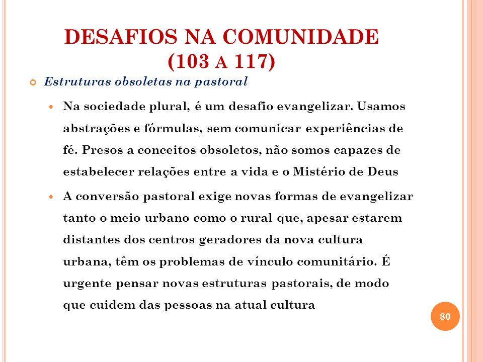 DESAFIOS NA COMUNIDADE (103 A 117) Estruturas obsoletas na pastoral Sobra burocracia e falta acolhida em muitas secretarias paroquiais.