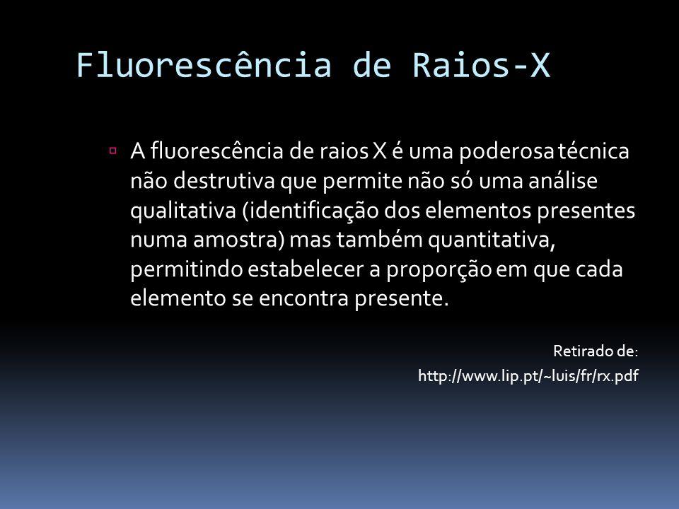 Fluorescência de Raios-X A fluorescência de raios X é uma poderosa técnica não destrutiva que permite não só uma análise qualitativa (identificação do