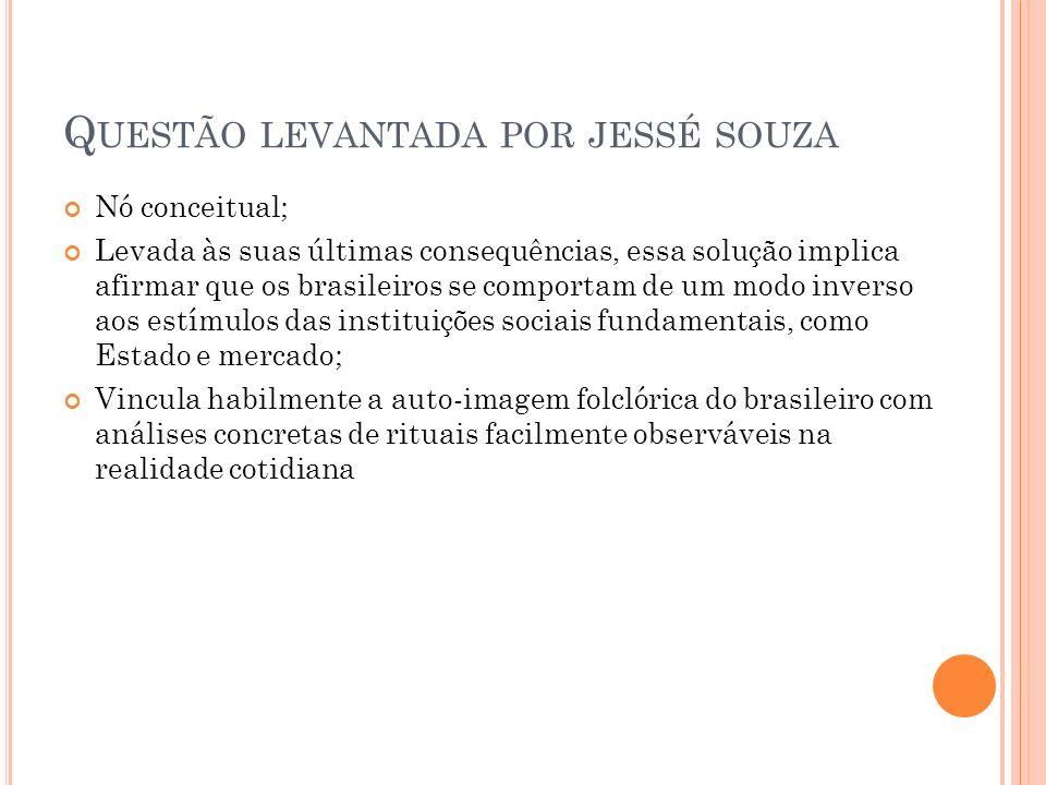 Q UESTÃO LEVANTADA POR JESSÉ SOUZA Nó conceitual; Levada às suas últimas consequências, essa solução implica afirmar que os brasileiros se comportam d
