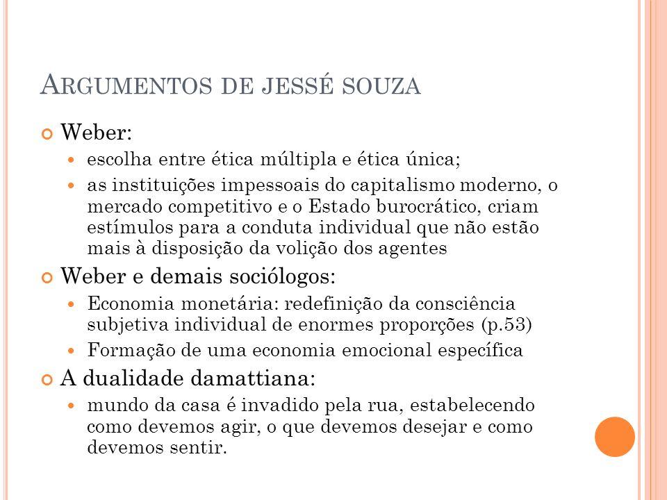 A RGUMENTOS DE JESSÉ SOUZA Weber: escolha entre ética múltipla e ética única; as instituições impessoais do capitalismo moderno, o mercado competitivo