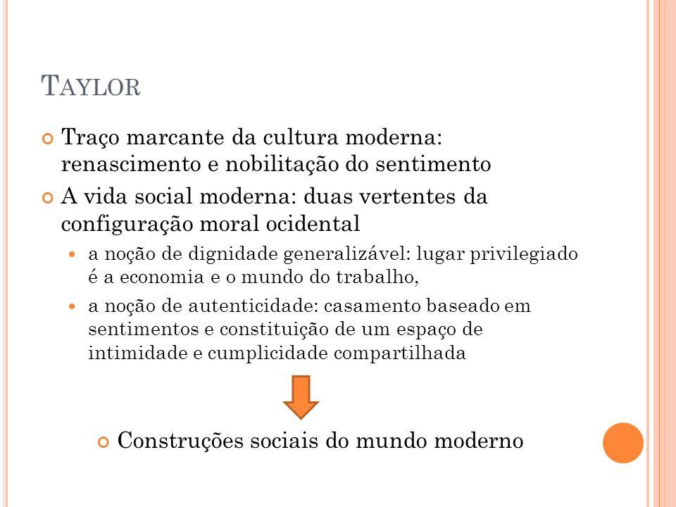 T AYLOR Traço marcante da cultura moderna: renascimento e nobilitação do sentimento A vida social moderna: duas vertentes da configuração moral ociden