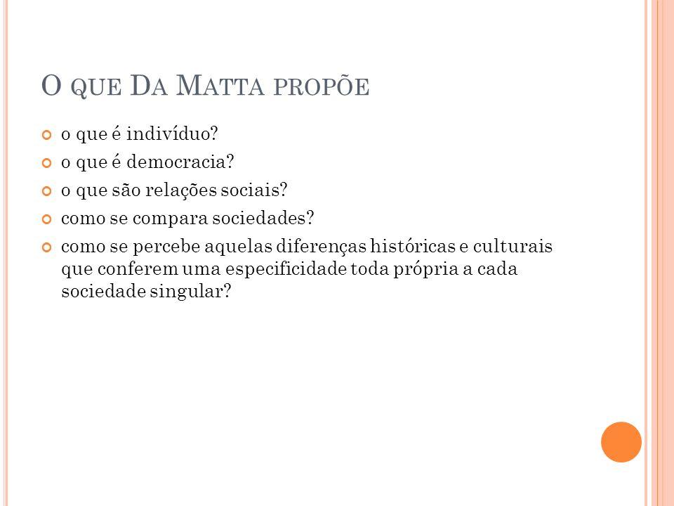 M ATERIAL DE ANÁLISE Carnavais, malandros e heróis (Da Matta, 1981); Livro mais importante; Tentativa é empreendida a partir do estudo do cotidiano brasileiro, no estudo dos seus rituais e modelos de ação portanto (sistema social); Esforço comparativo com os EUA.