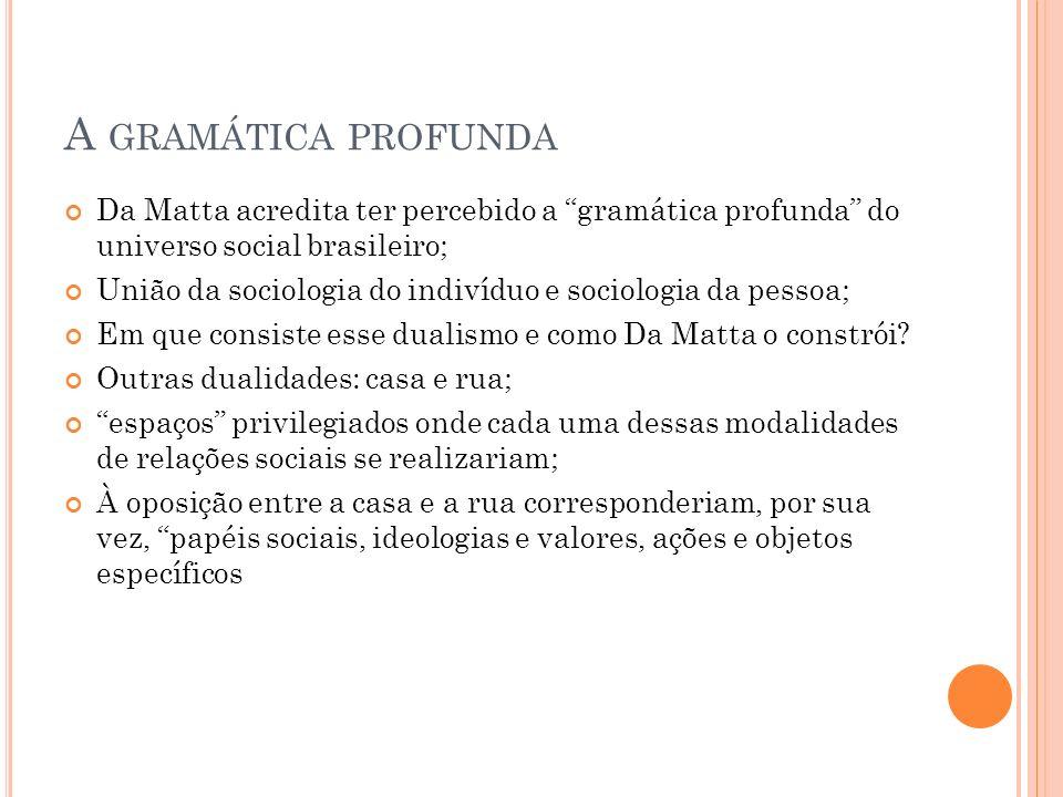 A GRAMÁTICA PROFUNDA Da Matta acredita ter percebido a gramática profunda do universo social brasileiro; União da sociologia do indivíduo e sociologia