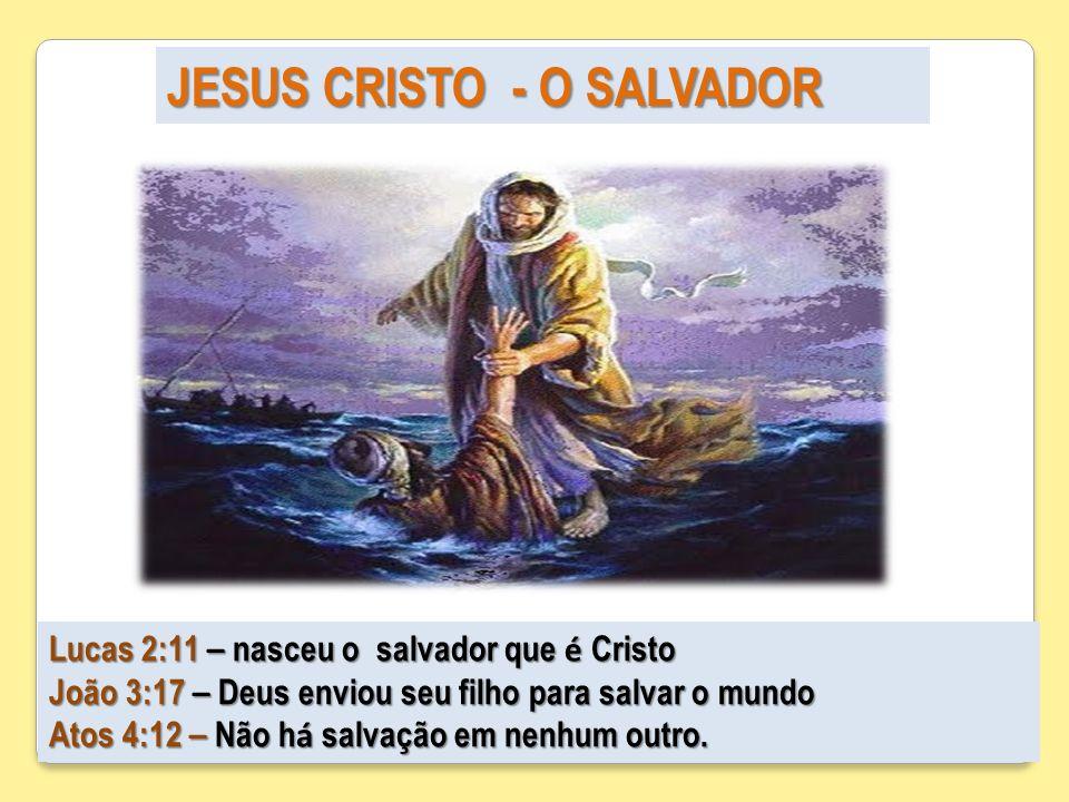 JESUS CRISTO - O SALVADOR Lucas 2:11 – nasceu o salvador que é Cristo João 3:17 – Deus enviou seu filho para salvar o mundo Atos 4:12 – Não h á salvaç