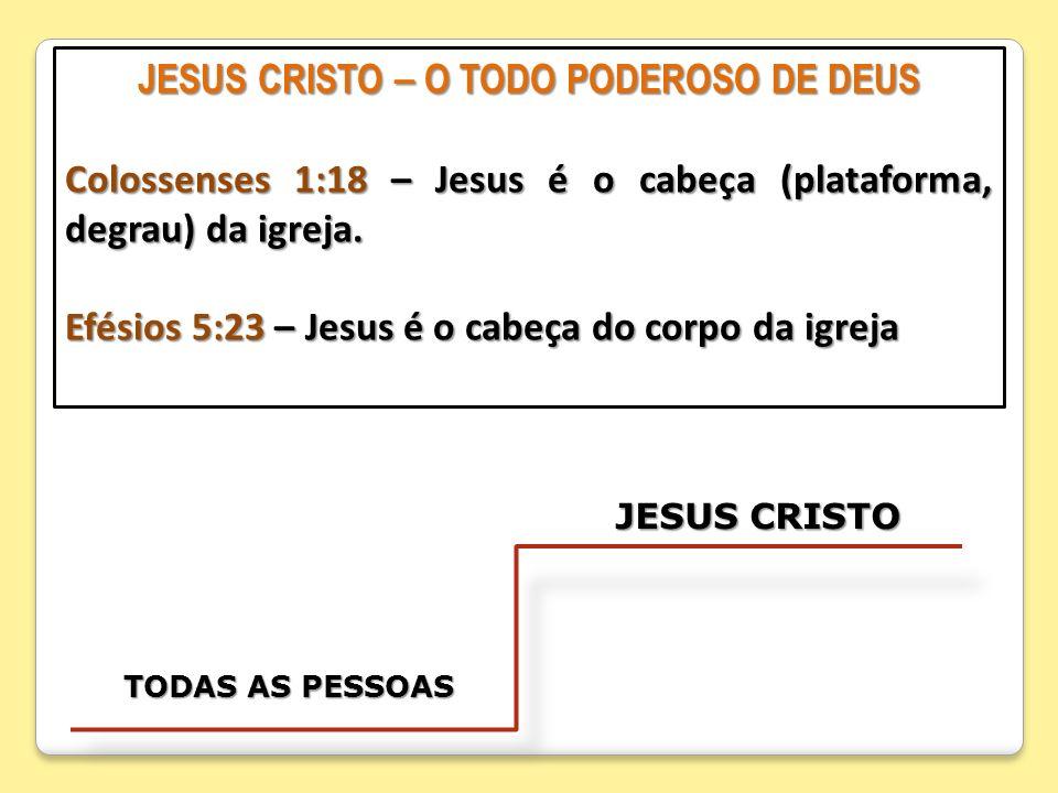 JESUS CRISTO – O TODO PODEROSO DE DEUS Colossenses 1:18 – Jesus é o cabeça (plataforma, degrau) da igreja. Efésios 5:23 – Jesus é o cabeça do corpo da