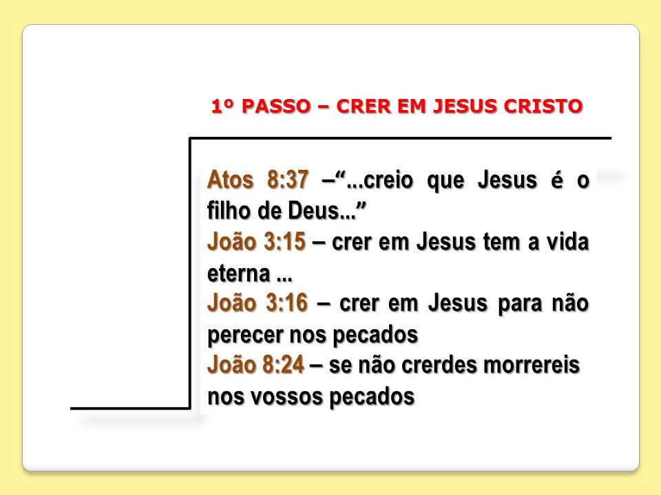 Atos 8:37 –...creio que Jesus é o filho de Deus... Atos 8:37 –...creio que Jesus é o filho de Deus... João 3:15 – crer em Jesus tem a vida eterna... J