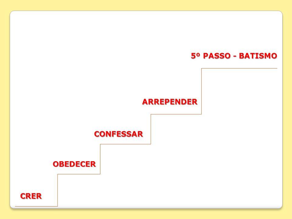 CRER OBEDECER OBEDECER CONFESSAR CONFESSAR ARREPENDER 5º PASSO - BATISMO 5º PASSO - BATISMO