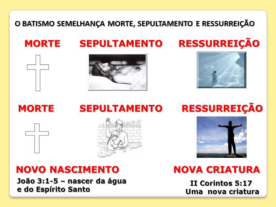 O BATISMO SEMELHANÇA MORTE, SEPULTAMENTO E RESSURREIÇÃO MORTE SEPULTAMENTO RESSURREIÇÃO MORTE SEPULTAMENTO RESSURREIÇÃO MORTE SEPULTAMENTO RESSURREIÇÃ