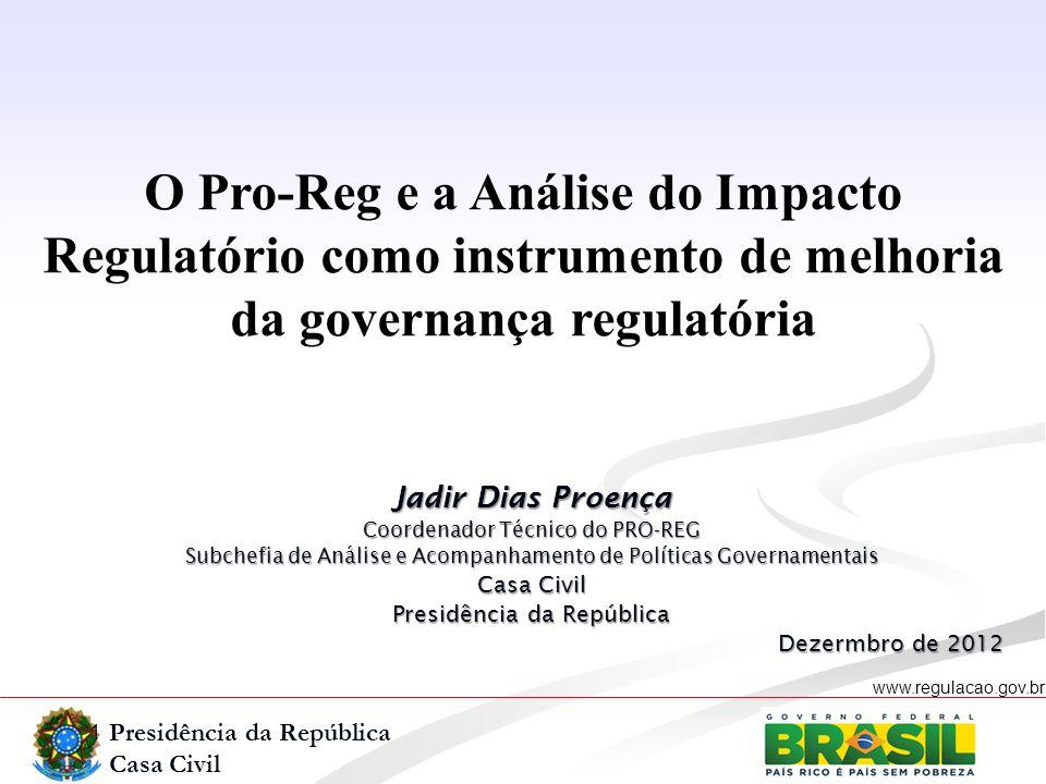 Presidência da República Casa Civil www.regulacao.gov.br r O PRO-REG Análise do Impacto Regulatório - AIR Governança Regulatória.
