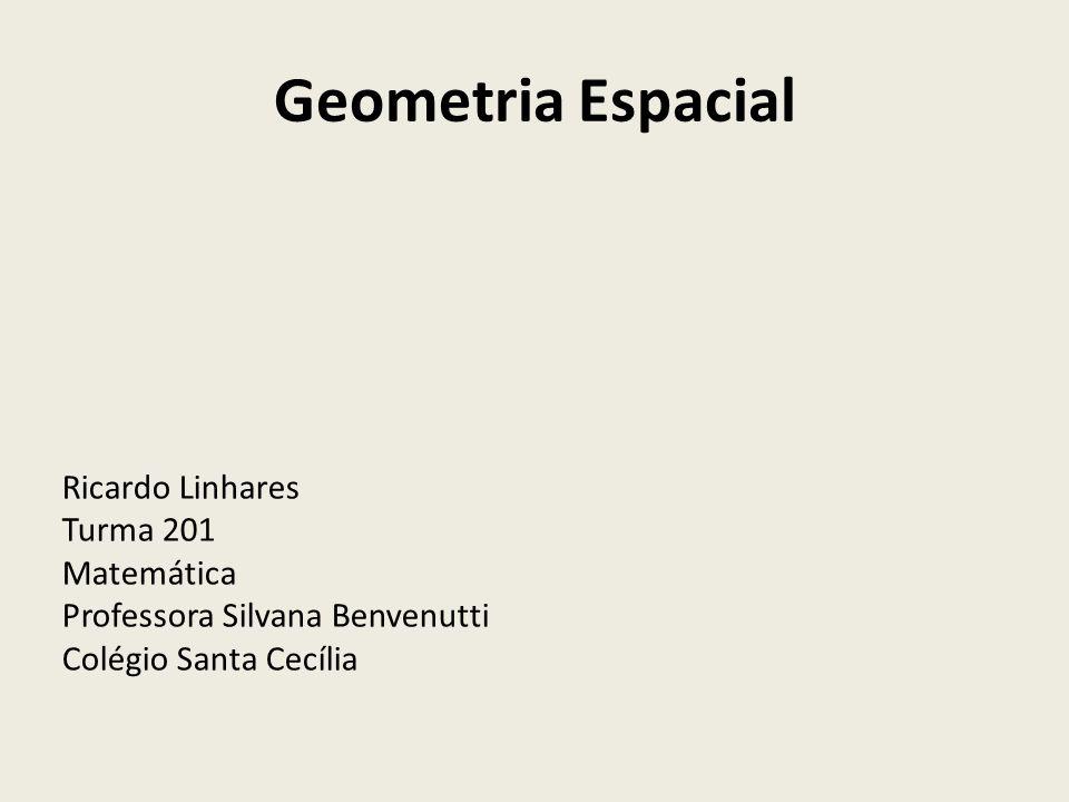Geometria Espacial Ricardo Linhares Turma 201 Matemática Professora Silvana Benvenutti Colégio Santa Cecília
