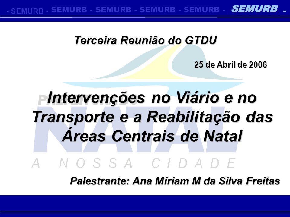 Terceira Reunião do GTDU 25 de Abril de 2006 Palestrante: Ana Míriam M da Silva Freitas -SEMURB- - - - - - Intervenções no Viário e no Transporte e a