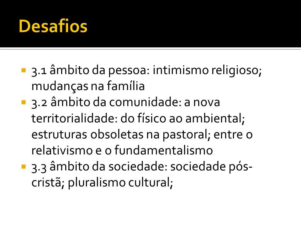 3.1 âmbito da pessoa: intimismo religioso; mudanças na família 3.2 âmbito da comunidade: a nova territorialidade: do físico ao ambiental; estruturas o