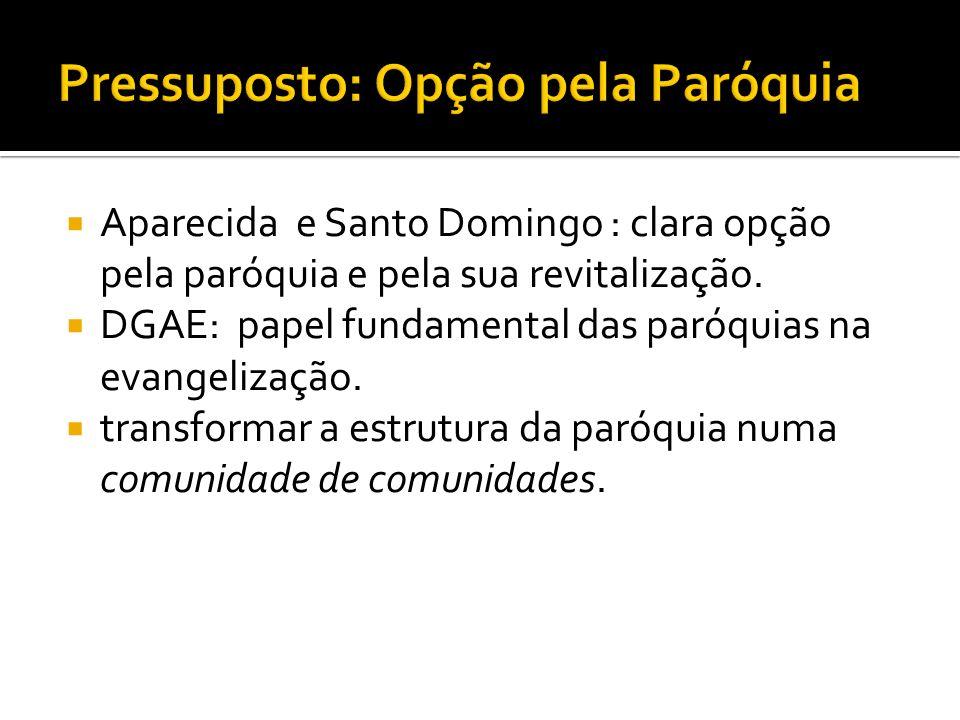 Aparecida e Santo Domingo : clara opção pela paróquia e pela sua revitalização. DGAE: papel fundamental das paróquias na evangelização. transformar a
