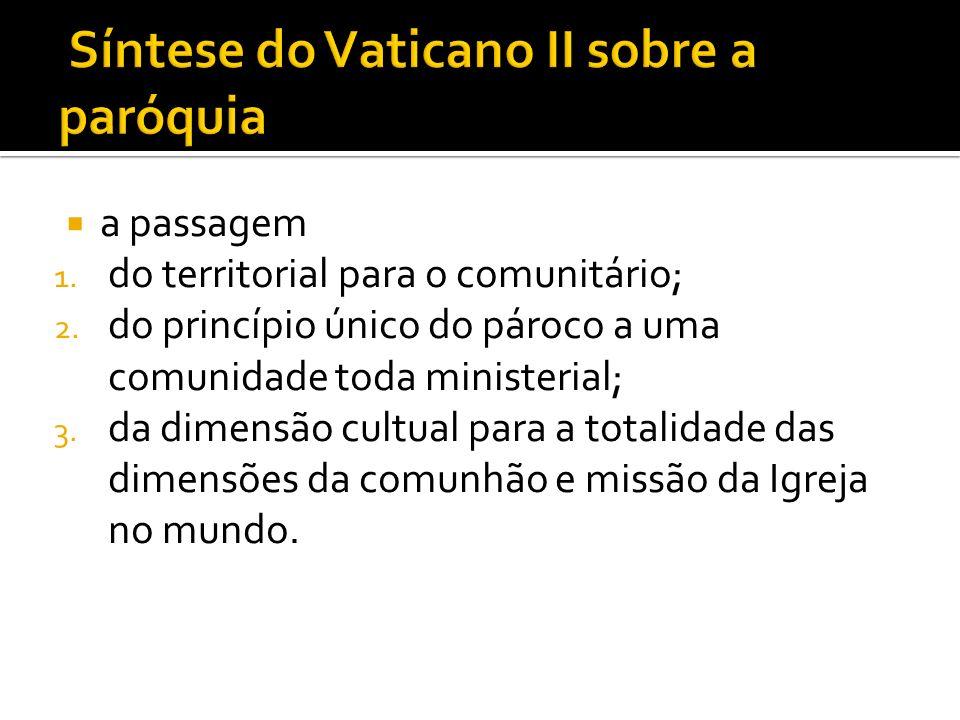 a passagem 1. do territorial para o comunitário; 2. do princípio único do pároco a uma comunidade toda ministerial; 3. da dimensão cultual para a tota