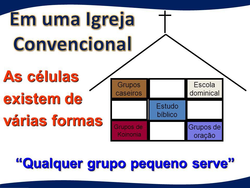Grupos de Koinonia Grupos caseiros Qualquer grupo pequeno serve Qualquer grupo pequeno serve Estudo bíblico Grupos de oração As células existem de várias formas Escola dominical