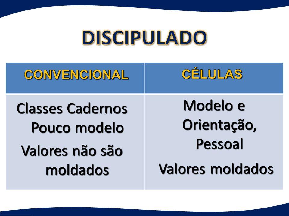 Classes Cadernos Pouco modelo Valores não são moldados Modelo e Orientação, Pessoal Valores moldados Valores moldados