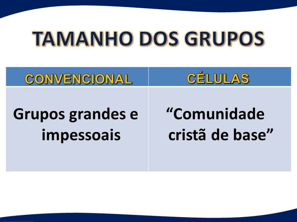 Comunidade cristã de base Grupos grandes e impessoais