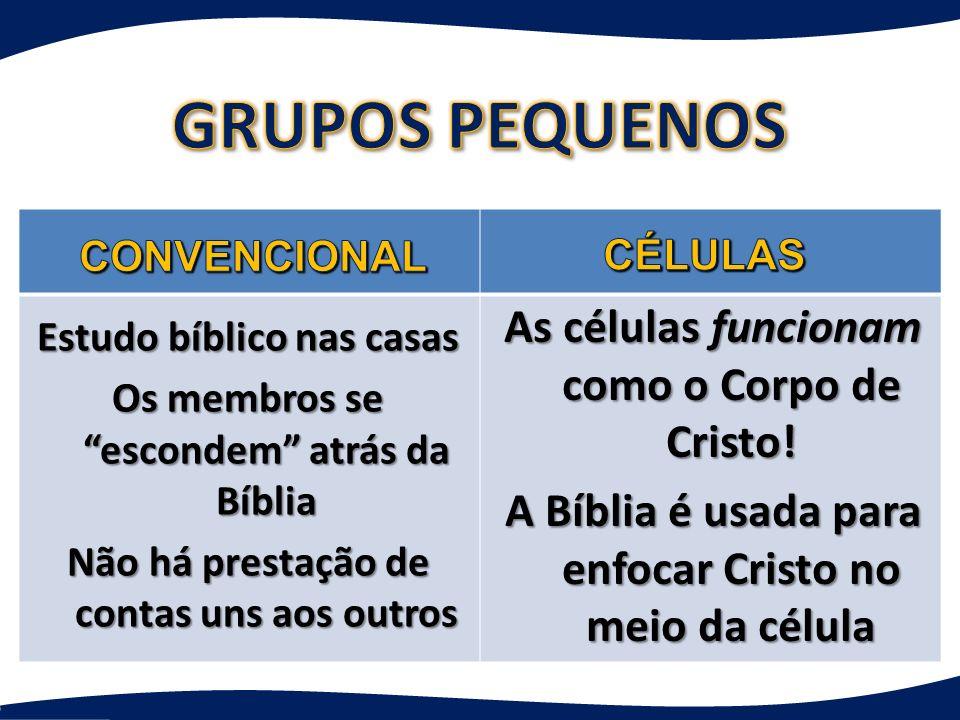 As células funcionam como o Corpo de Cristo! A Bíblia é usada para enfocar Cristo no meio da célula Estudo bíblico nas casas Os membros se escondem at