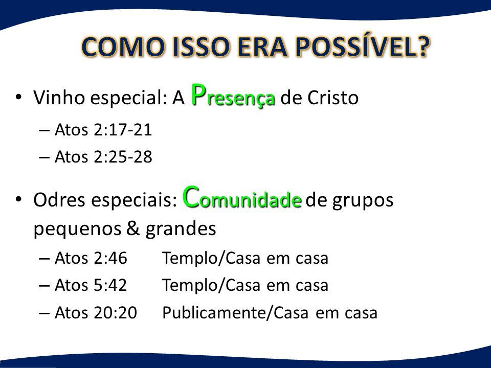 P resença Vinho especial: A P resença de Cristo – Atos 2:17-21 – Atos 2:25-28 C omunidade Odres especiais: C omunidade de grupos pequenos & grandes –
