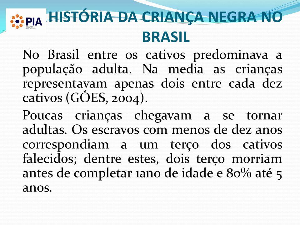 HISTÓRIA DA CRIANÇA NEGRA NO BRASIL No Brasil entre os cativos predominava a população adulta. Na media as crianças representavam apenas dois entre ca