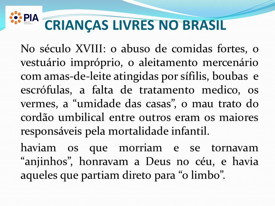 CRIANÇAS LIVRES NO BRASIL No século XVIII: o abuso de comidas fortes, o vestuário impróprio, o aleitamento mercenário com amas-de-leite atingidas por