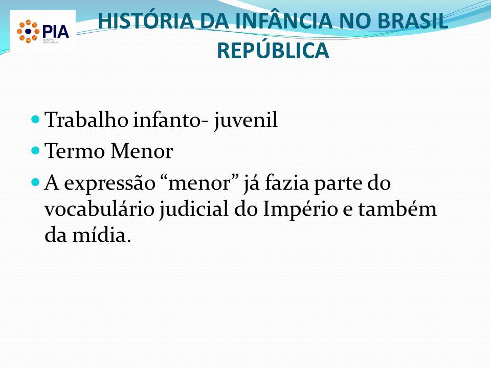 HISTÓRIA DA INFÂNCIA NO BRASIL REPÚBLICA Trabalho infanto- juvenil Termo Menor A expressão menor já fazia parte do vocabulário judicial do Império e t