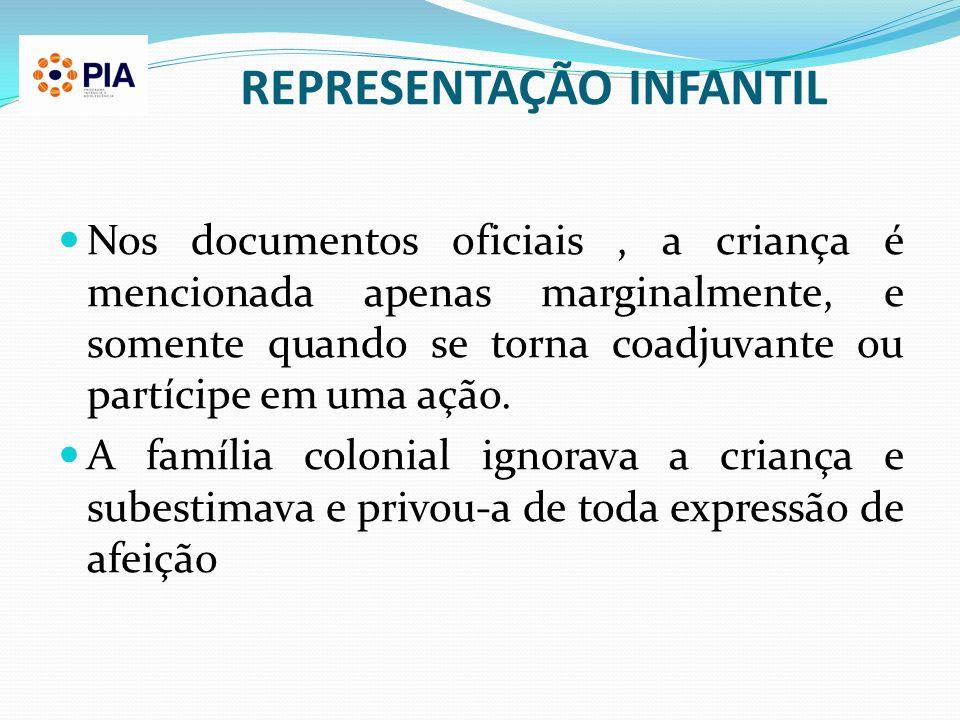 REPRESENTAÇÃO INFANTIL Nos documentos oficiais, a criança é mencionada apenas marginalmente, e somente quando se torna coadjuvante ou partícipe em uma
