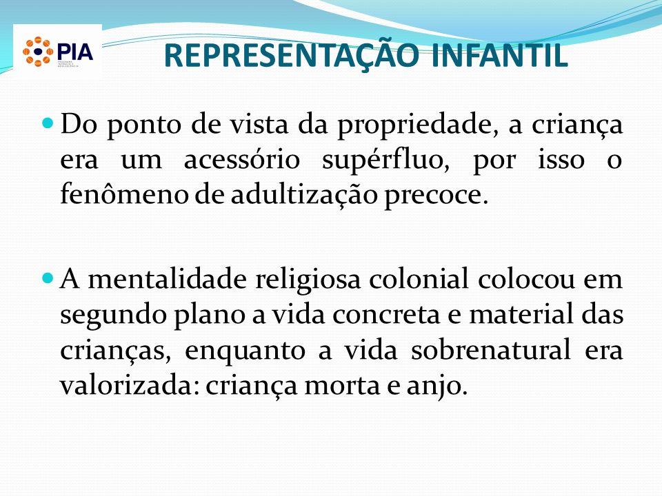 REPRESENTAÇÃO INFANTIL Do ponto de vista da propriedade, a criança era um acessório supérfluo, por isso o fenômeno de adultização precoce. A mentalida