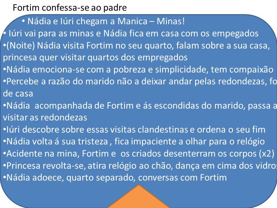 Fortim confessa-se ao padre Nádia e Iúri chegam a Manica – Minas! Iúri vai para as minas e Nádia fica em casa com os empegados (Noite) Nádia visita Fo