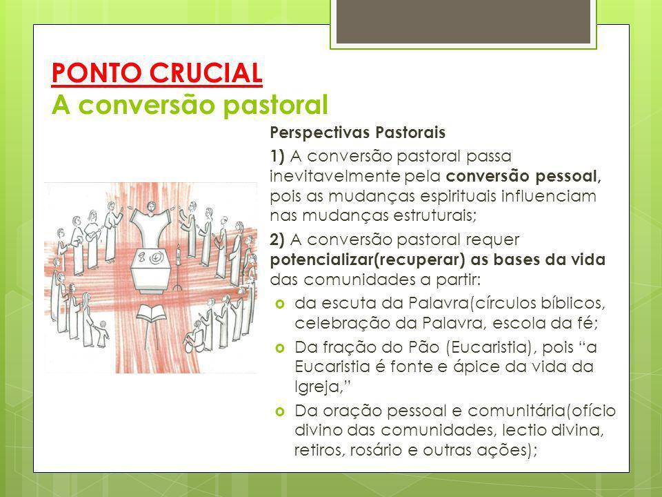 PONTO CRUCIAL A conversão pastoral Perspectivas Pastorais 1) A conversão pastoral passa inevitavelmente pela conversão pessoal, pois as mudanças espir
