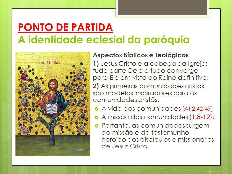 PONTO DE PARTIDA A identidade eclesial da paróquia Aspectos Bíblicos e Teológicos 1) Jesus Cristo é a cabeça da Igreja: tudo parte Dele e tudo converg