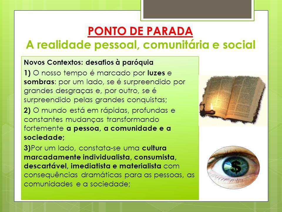 PONTO DE PARADA A realidade pessoal, comunitária e social Novos Contextos: desafios à paróquia 1) O nosso tempo é marcado por luzes e sombras : por um