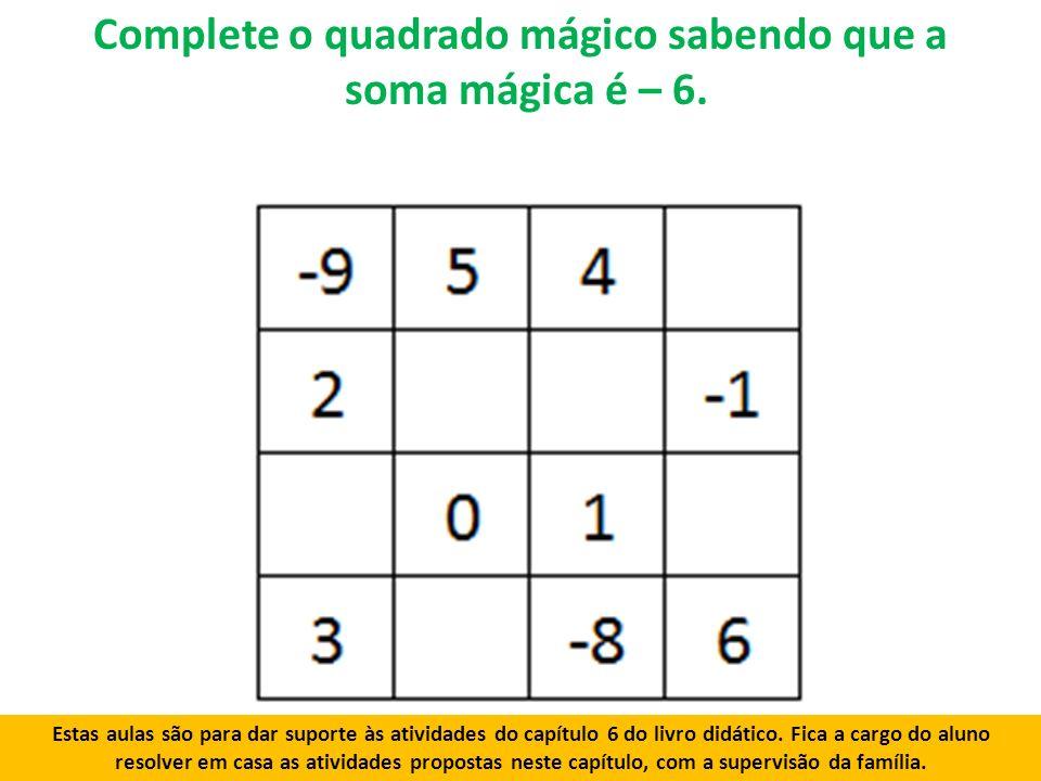 Complete o quadrado mágico sabendo que a soma mágica é – 6.