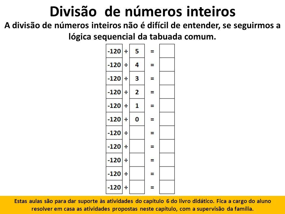 Divisão de números inteiros A divisão de números inteiros não é difícil de entender, se seguirmos a lógica sequencial da tabuada comum.