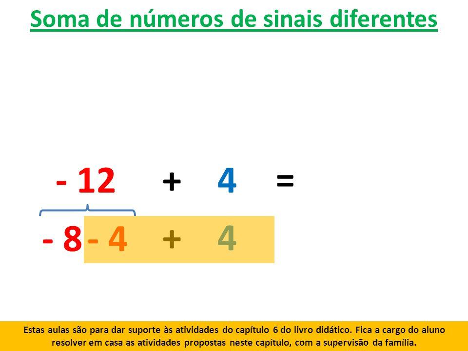 Soma de números de sinais diferentes - 12+ 4 - 8- 4 + 4 = Estas aulas são para dar suporte às atividades do capítulo 6 do livro didático.