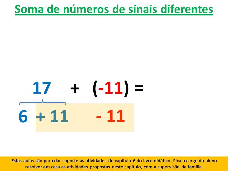 Soma de números de sinais diferentes 17+ (-11) 6+ 11 - 11 = Estas aulas são para dar suporte às atividades do capítulo 6 do livro didático.