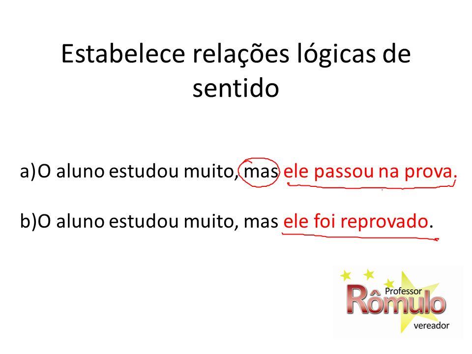 Estabelece relações lógicas de sentido a)O aluno estudou muito, mas ele passou na prova. b)O aluno estudou muito, mas ele foi reprovado.