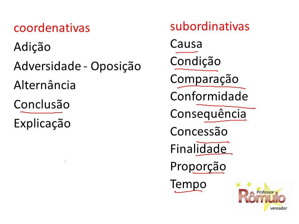 coordenativas Adição Adversidade - Oposição Alternância Conclusão Explicação subordinativas Causa Condição Comparação Conformidade Consequência Conces