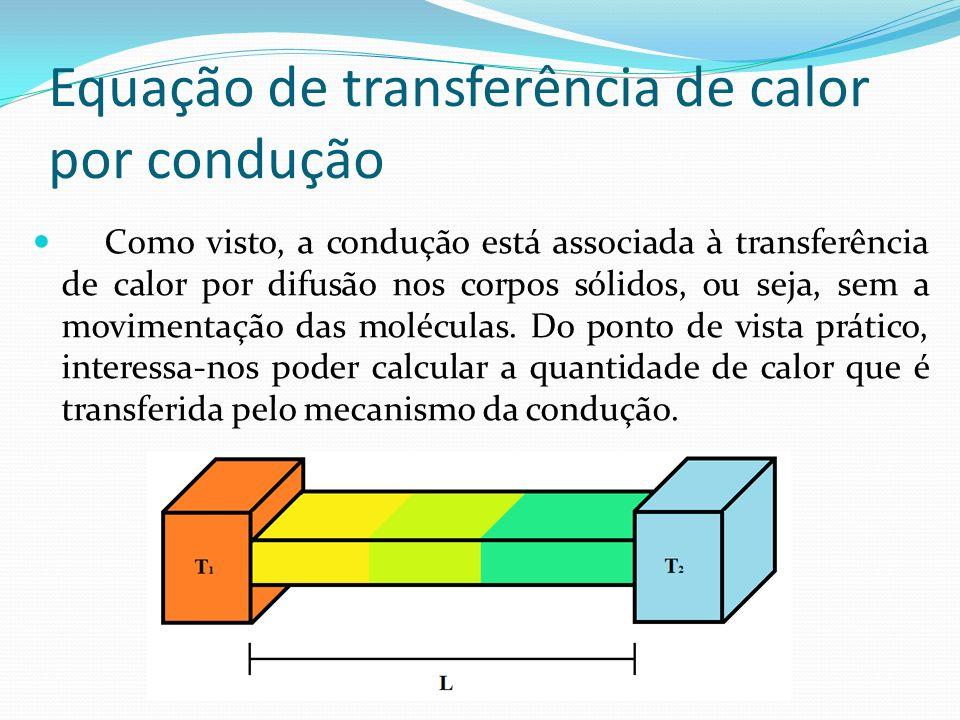 Equação de transferência de calor por condução Como visto, a condução está associada à transferência de calor por difusão nos corpos sólidos, ou seja, sem a movimentação das moléculas.