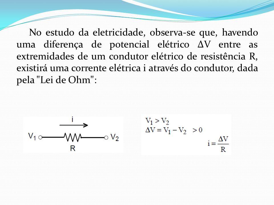 No estudo da eletricidade, observa-se que, havendo uma diferença de potencial elétrico V entre as extremidades de um condutor elétrico de resistência R, existirá uma corrente elétrica i através do condutor, dada pela Lei de Ohm :
