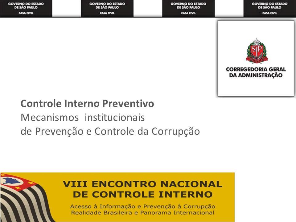 Controle Interno Preventivo Mecanismos institucionais de Prevenção e Controle da Corrupção